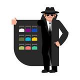 Smuggler selling Drugs. Cocaine and marijuana. Cloak-seller isolated. Dealer in hat and coat . Bootlegger. Seller prohibited goods of black marke. Legitimate trade. Vector illustration - 184656392