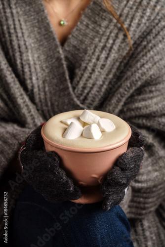 Foto op Plexiglas Chocolade cocoa with marshmallow