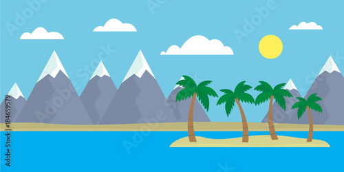 Foto op Canvas Pool Mountain cartoon view of an island in the sea with hills, trees and gray mountains with peaks under snow under a blue day sky with clouds with a straight horizon