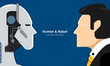 Human and robot. Concept of interaction with artificial intelligence. Vector illustration