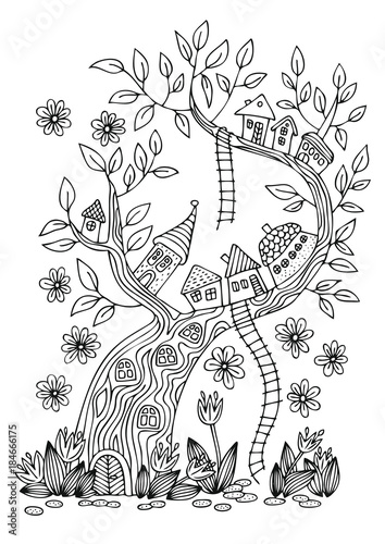 Small fantasy village on tree. Hand drawn picture. Sketch for anti-stress adult coloring book in zen-tangle style. Vector illustration  for coloring page, isolated on white background. - 184666175