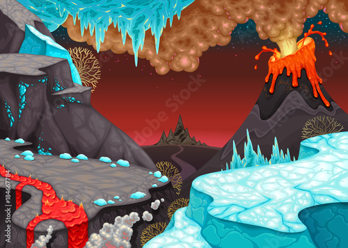 Tuinposter Kinderkamer Prehistoric landscape with fire and ice.
