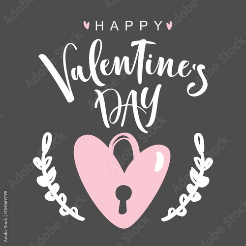 Plexiglas Vintage Poster Happy Valentines Day. Romantic greeting card with modern brush calligraphy. Vector Illustration.
