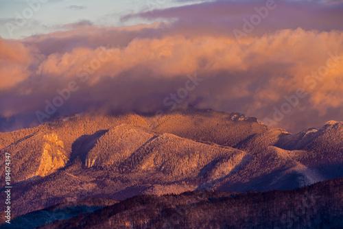 Plexiglas Zalm beautiful winter landscape with the Bucegi Mountains in Romania