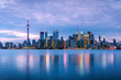 View of Toronto Skyline at Dusk in Winter