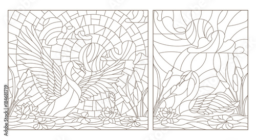 Set contour illustrations of stained glass with swans and lotuses on a pond on a background sky and sun