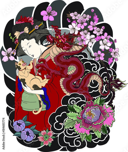 Traditional Japanese tattoo style.Japanese women in kimono with her cat and Old dragon.Hand drawn geisha girl and kitten on back tattoo.Old dragon with peony flower and chrysanthemum on background. - 184685774