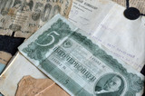 Russian and Soviet vintage banknotes, documents and papers.