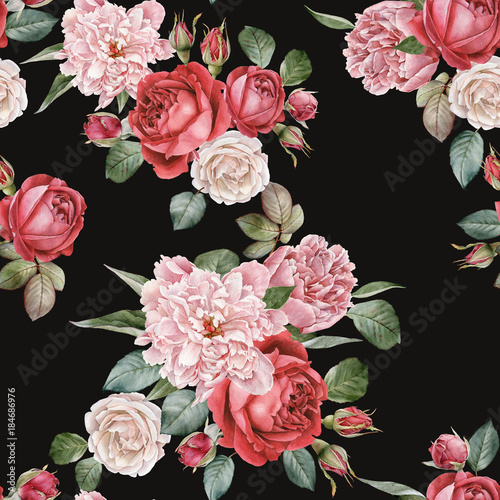 Floral seamless pattern with watercolor red roses and peonies - 184686976