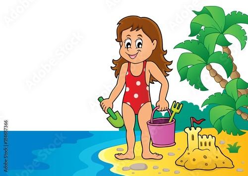 Plexiglas Voor kinderen Girl playing on beach image 3