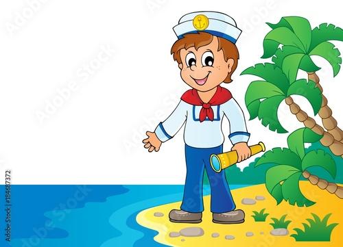 Plexiglas Voor kinderen Image with sailor theme 7