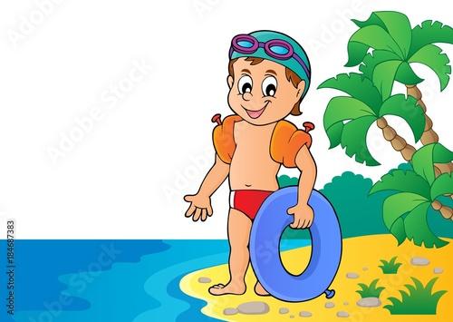 Plexiglas Voor kinderen Little swimmer theme image 4