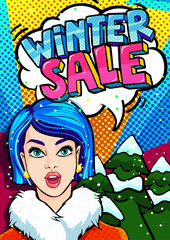 Open mouth and Winter Sale Message in pop art style