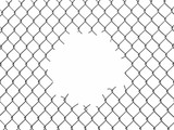 Chainlink fence with hole. Image with clipping path - 184691795