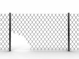 Chainlink fence with hole. Image with clipping path - 184691983