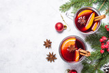 Mulled wine in glass top view copy space. - 184692304