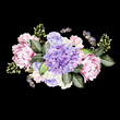 Watercolor wedding bouquet with rose, peony and hydrangea. Ilustration - 184694959
