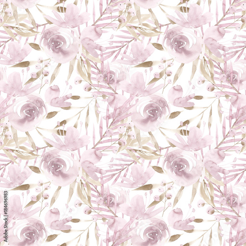 Pale pink roses and peonies with gray leaves on white background. Seamless pattern. Romantic garden flowers illustration. Faded colors. - 184696983