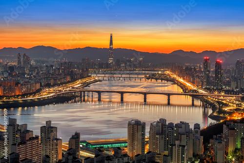 Plakat Seoul Cityscape of Hangang bridge in korea.