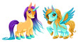 Baby unicorn and pegasus with cute eyes - 184700760