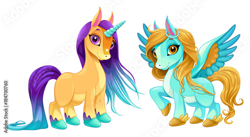 Baby unicorn and pegasus with cute eyes