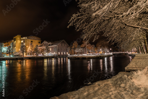 Night in the town of Filipstad, Sweden december, 2017