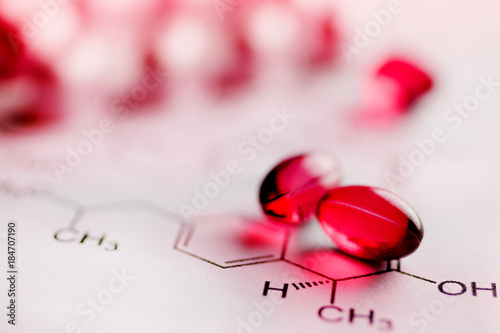 Painkiller tablets - pink caps with molecules chemical formulas - healthcare and Poster