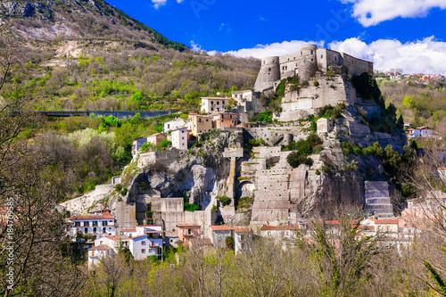 autentic traditional places of Italy - Cerro al Volturno with impressive castle. Molise region.