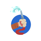 Hand holding fire hose, symbol of the profession of a firefighter cartoon vector Illustration - 184710314
