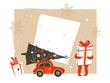 Hand drawn vector Merry Christmas and Happy New Year time vintage cartoon illustrations greeting card header template with little boy kid who holding big gift box isolated on white background - 184711170