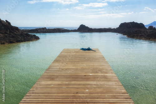 Foto op Canvas Canarische Eilanden Empty jetty at the lagoon of Los Lobos island near Fuerteventura