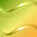 Orange and green waves background - 184718144