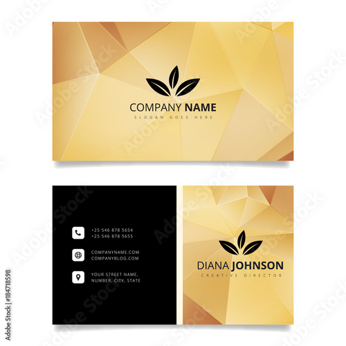 Gold geometric business card modern simple business card vector gold geometric business card modern simple business card vector template creative and clean double reheart Choice Image