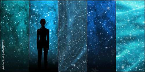 Aluminium UFO Universe, stars, constellations, planets and an alien shape. Space backgrounds collection.