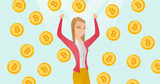Young caucasian successful investor standing with raised hands under bitcoin coins rain and celebrating financial success in investment to blockchain network technology. Vector cartoon illustration. - 184719944