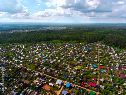Aerial view of the cottages in Russia