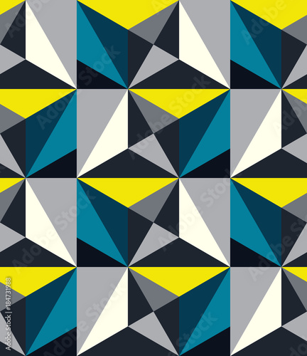 Abstract seamless pattern of triangles. Volumetric geometric texture. - 184731988