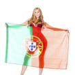 Beautiful blonde woman holding a large Portuguese flag