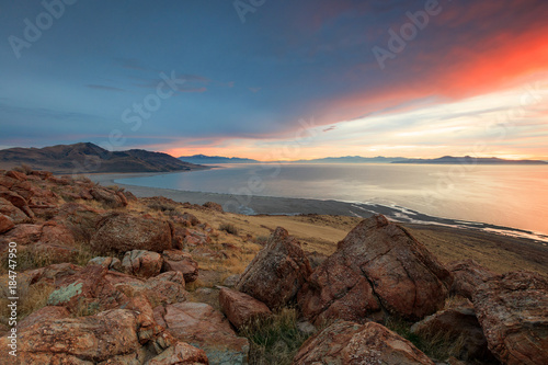In de dag Blauwe jeans Red november sunset landscape, Utah, USA.