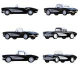Black Corvette Vintage Car isolated on white. 3d render