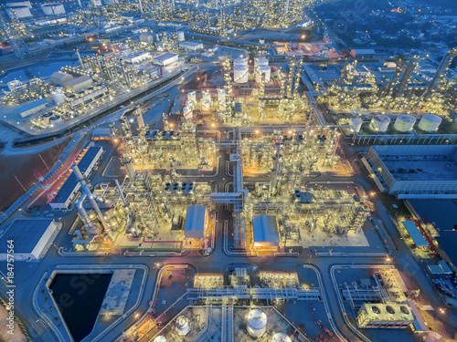aerial top view Oil refinery at night . Poster