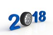 New year 2018 with car's wheel, Blue year number isolated on white background, 3D rendering