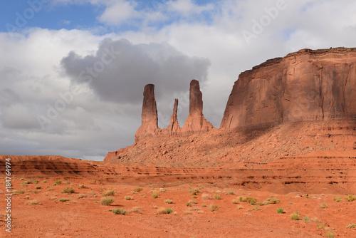 Foto op Plexiglas Koraal Sandstone Formation of Three Sisters - The close view of unique sandstone spires, called