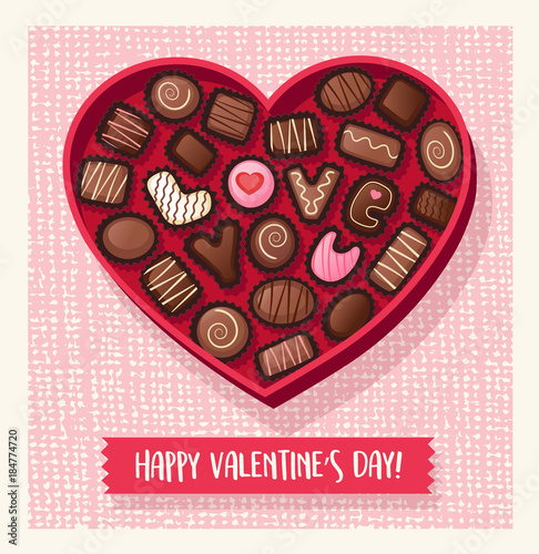 Heart shaped valentines day candy box with chocolate bon-bons that spell Love You. Vector illustration.