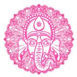 Vector illustration of Ganesha. Hindu god elephant Ganesha and flower mandala on the background. Lineart tattoo. - 184781916