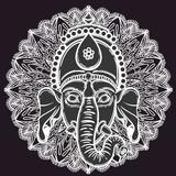 Vector illustration of Ganesha. Hindu god elephant Ganesha and flower mandala on the background. Lineart tattoo. - 184781921