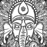 Vector illustration of Ganesha. Hindu god elephant Ganesha and flower mandala on the background. Lineart tattoo. - 184781930