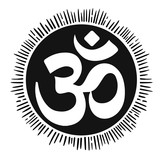 vector illustration with mantra OM. Lineart tattoo. - 184781938