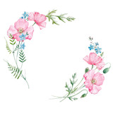 Watercolor floral frame - 184786574