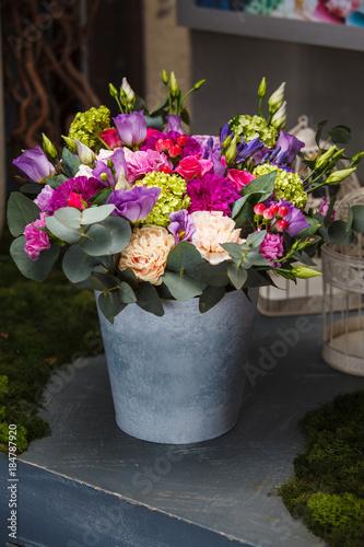 Plexiglas Hydrangea beautiful bouquet in a bucket